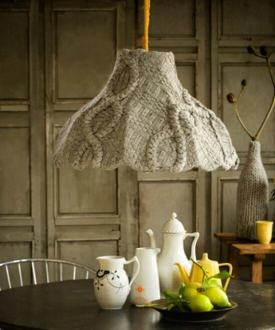 Sweater Lampshade - 50 Amazingly Creative Upcycling Projects For Old Sweaters
