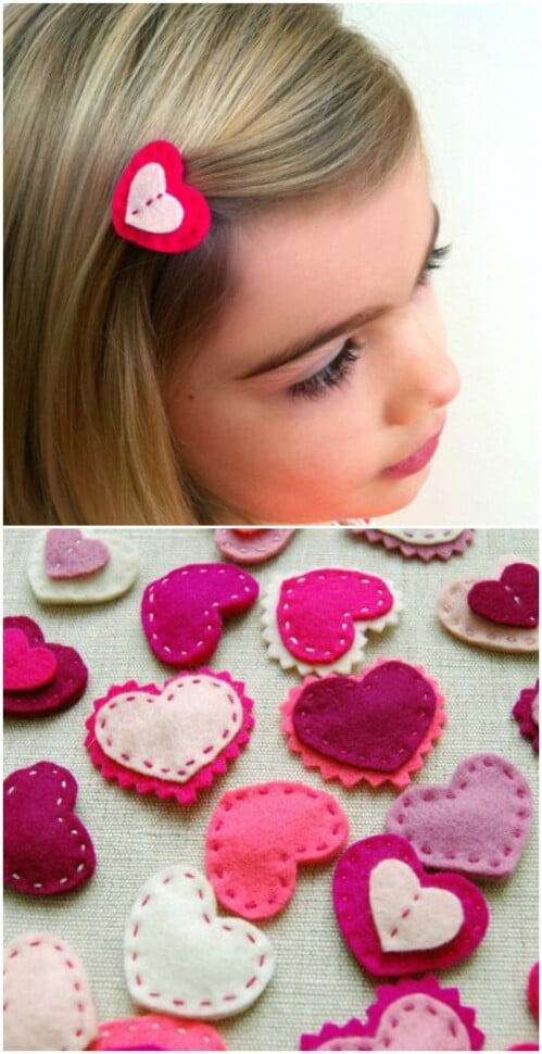 DIY Heart Barrettes - 20 Adorable And Easy DIY Valentine's Day Projects For Kids