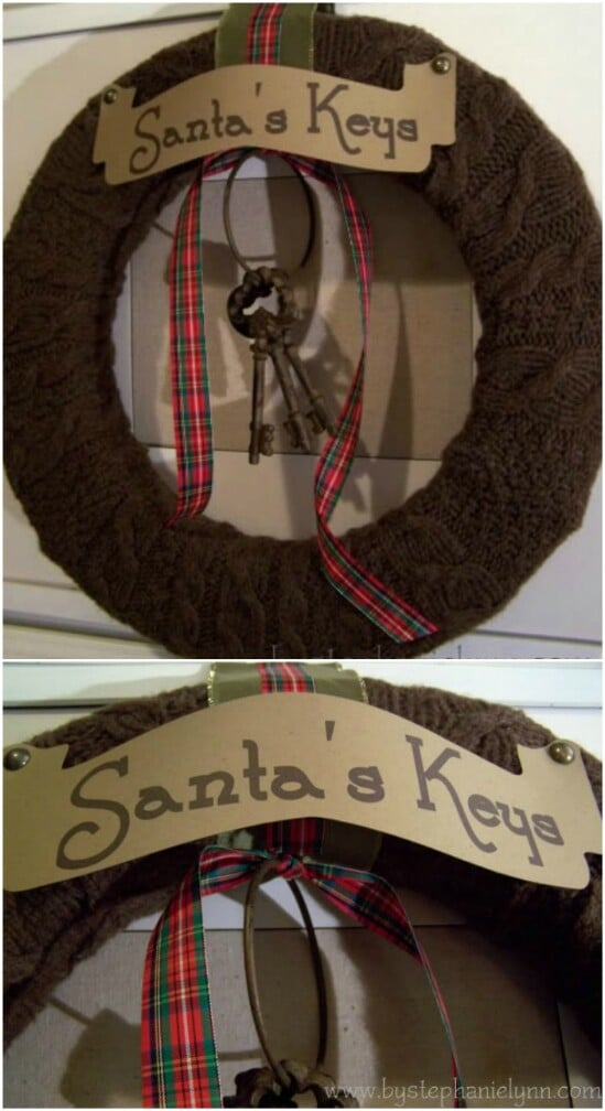 Old Sweater Wreath - 50 Amazingly Creative Upcycling Projects For Old Sweaters