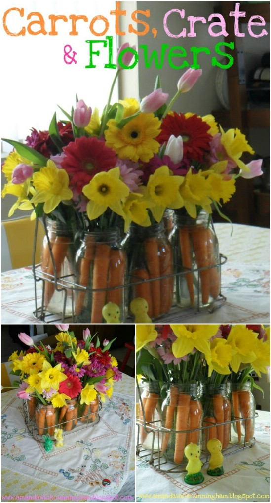 25 mason jar easter crafts for gifts home decor and more diy carrot mason jar centerpiece negle Image collections