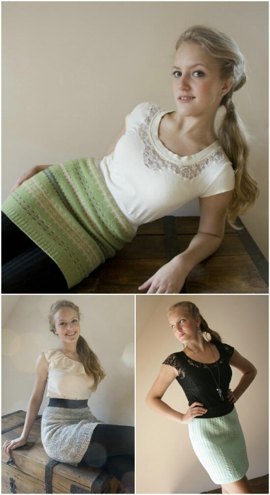 Sweater Skirt - 50 Amazingly Creative Upcycling Projects For Old Sweaters