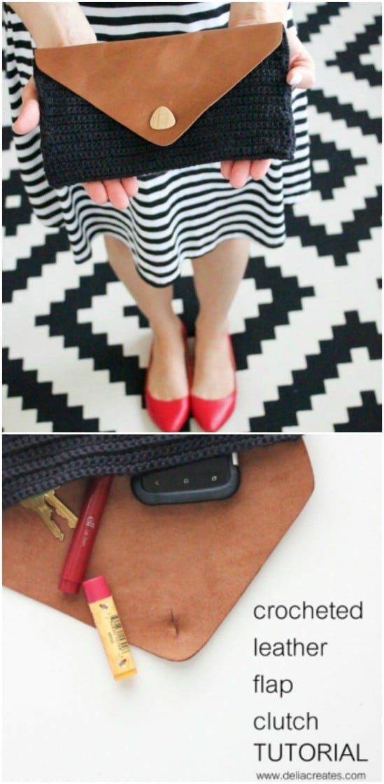 Crochet And Leather Clutch