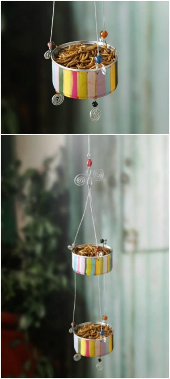 Colorful Bird Feeder - 20 Frugally Genius Ways To Upcycle Empty Tuna Cans