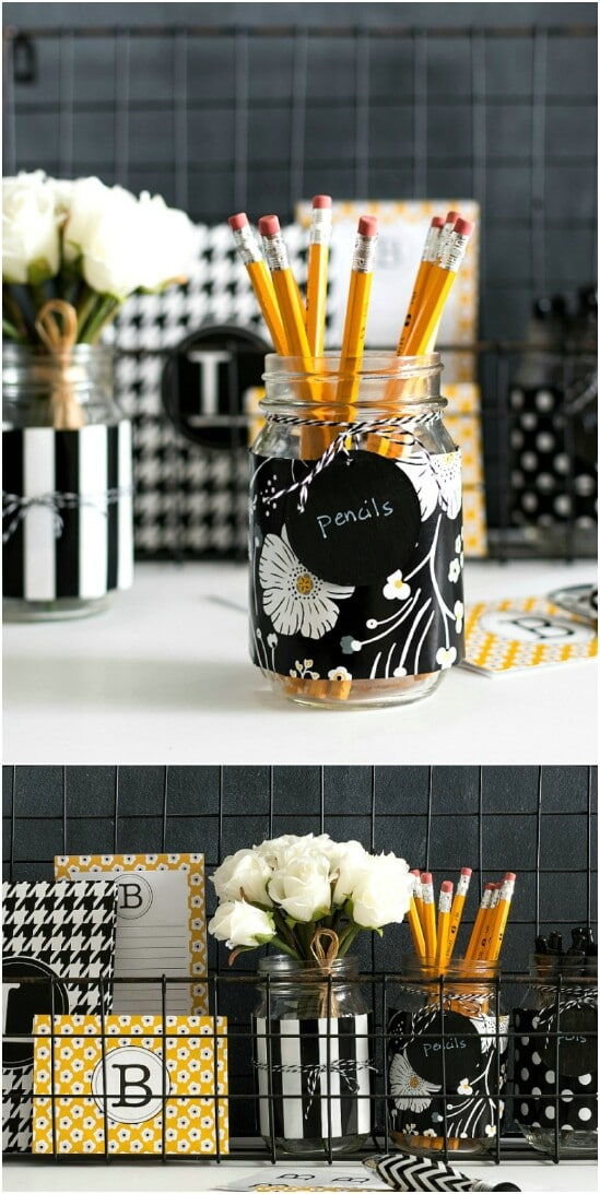 Desk Organizer - 30 Mind Blowing DIY Mason Jar Organizers You'll Want To Make Right Away