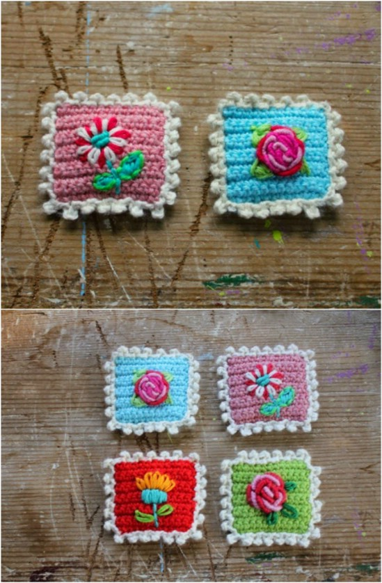 Crocheted Postage Stamp