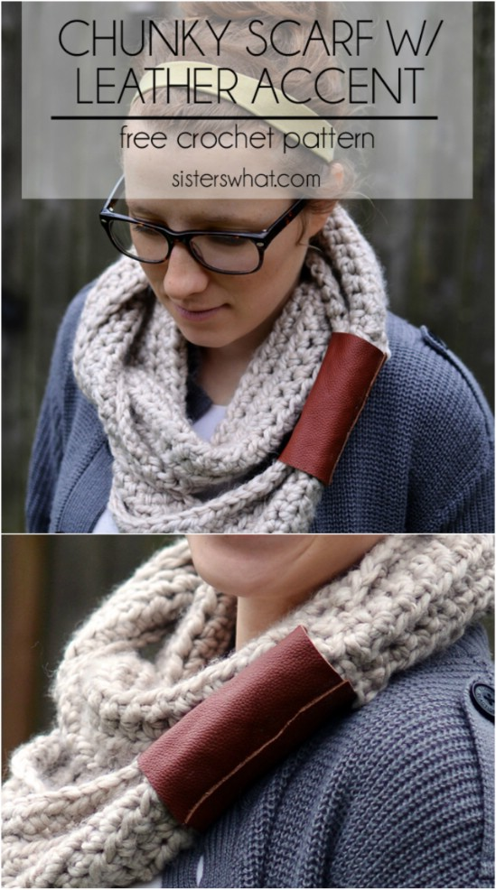 Chunky Scarf With Leather Accent