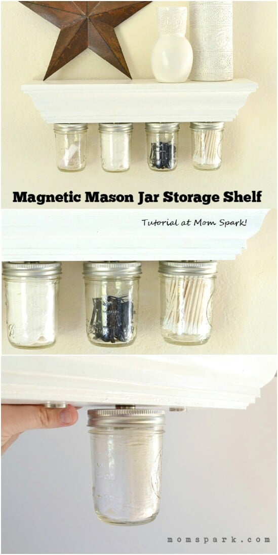 Magnetic Under Shelf Storage - 30 Mind Blowing DIY Mason Jar Organizers You'll Want To Make Right Away