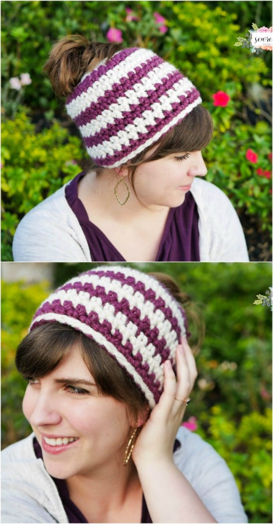 Easy To Crochet Bun Beanie