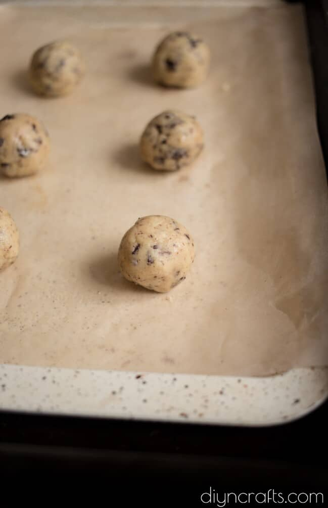 Rolling into small balls before cooking.