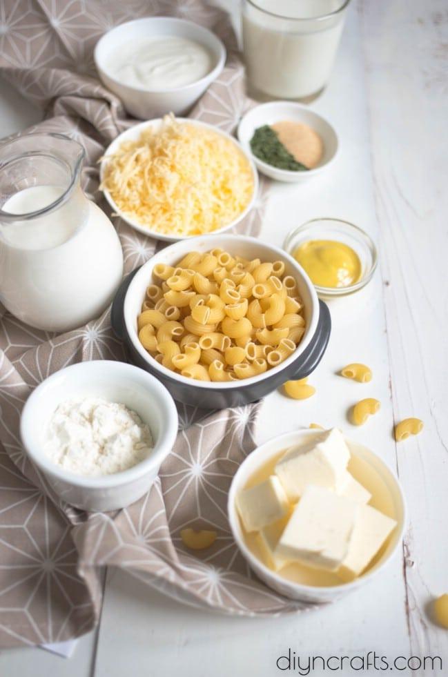 Million Dollar Macaroni and Cheese Ingredients.