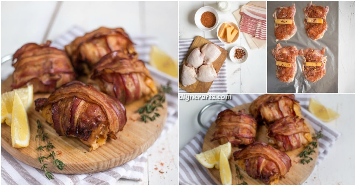 Cheese stuffed and bacon wrapped chicken thigh rolls recipe diy wrapped in bacon and stuffed with cheese these chicken thighs may be the best thing youve ever eaten they have chili flakes and cheddar stuffed right forumfinder Gallery