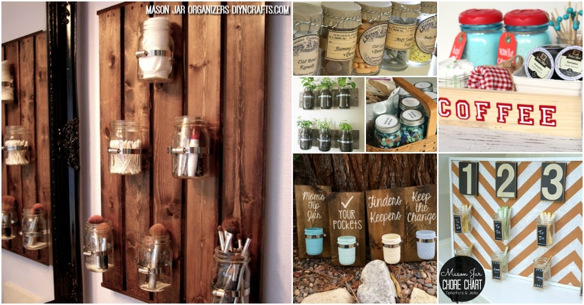 30 mind blowing diy mason jar organizers youll want to make right i just cant get enough of using mason jars for everything the jars themselves are so versatile and are perfect for so many diy crafts solutioingenieria Images