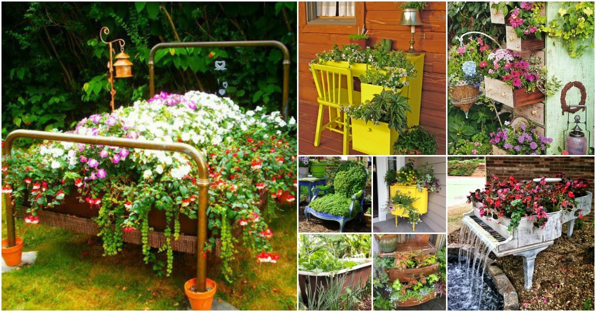 20 brilliantly creative ways to incorporate old furniture for Classic house with flower garden