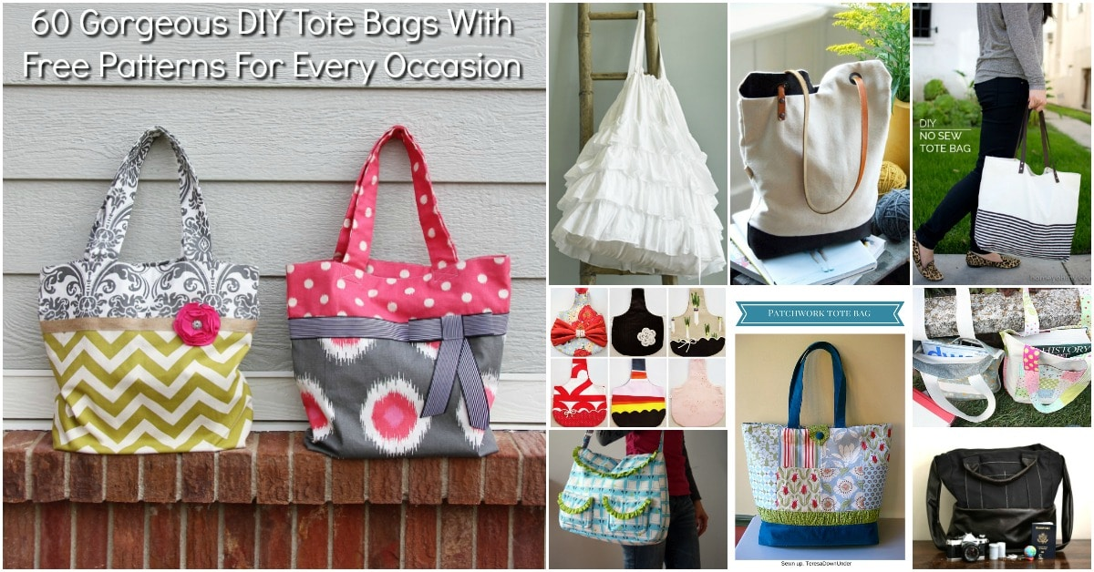 60 Gorgeous DIY Tote Bags With Free Patterns For Every Occasion ...