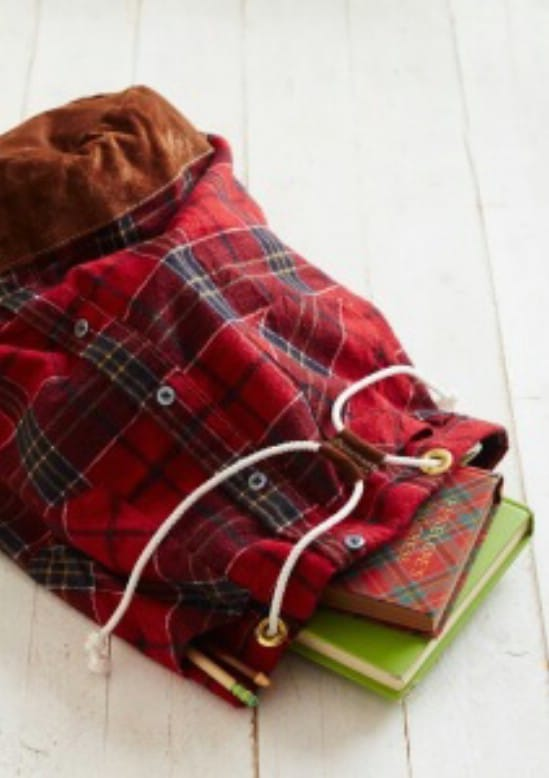 Repurposed Flannel Shirt Knapsack