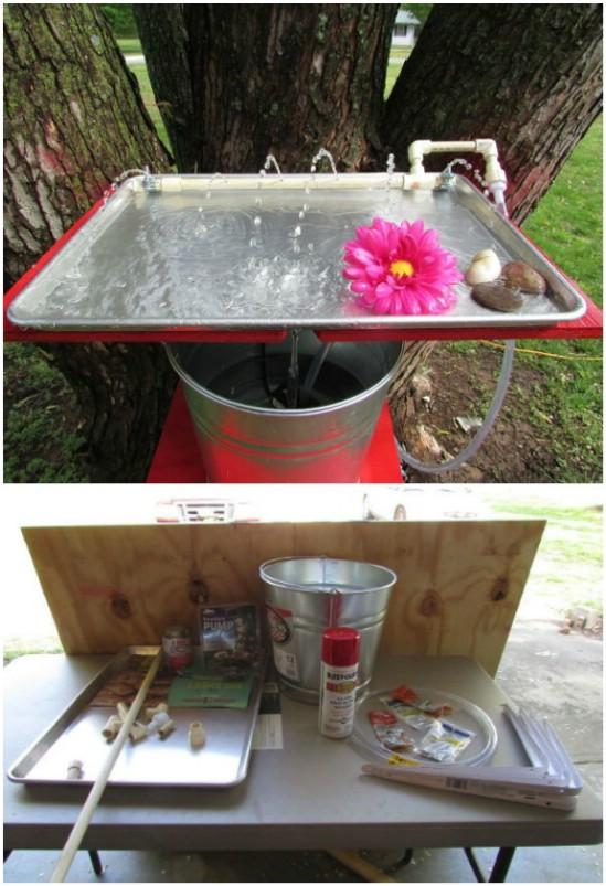 Repurposed Cookie Sheet Hummingbird Bath