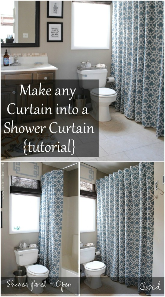 DIY Fabric Shower Curtain From Panels