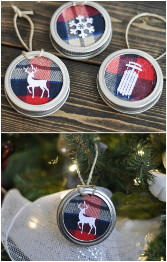 Mason Jar Lid Flannel Christmas Ornaments