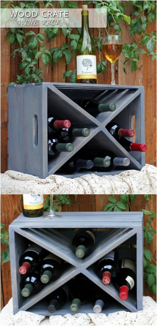 25 wood crate upcycling projects for fabulous home decor for Crate wine rack diy