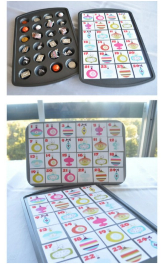Repurposed Muffin Tin Advent Calendar