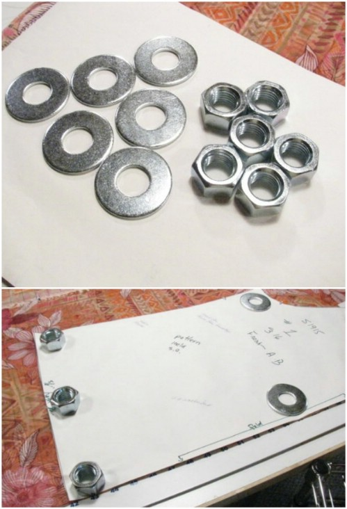 Use Nuts And Washers As Pattern Weights