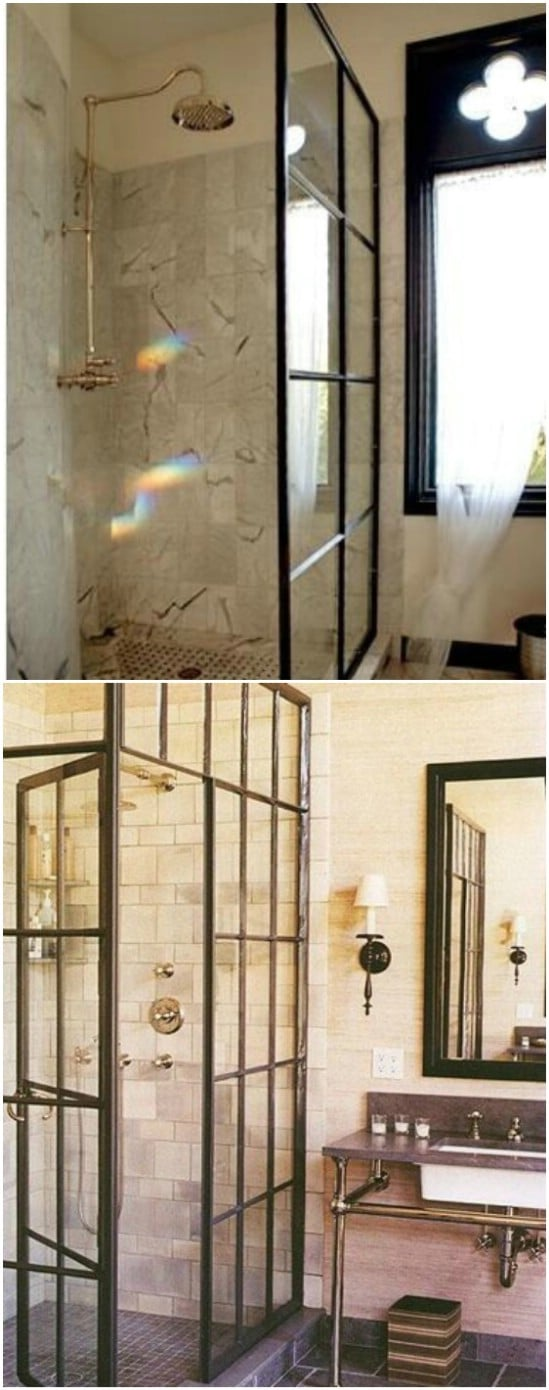 DIY Repurposed Window Shower Door