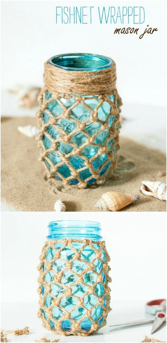 Fishnet Wrapped Decorative Jars