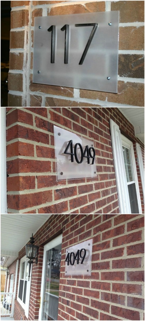Contemporary Frosted House Number Display