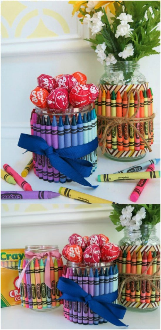 Crayon Covered Gift Jars