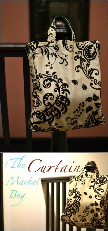Easy DIY Curtain Market Bag