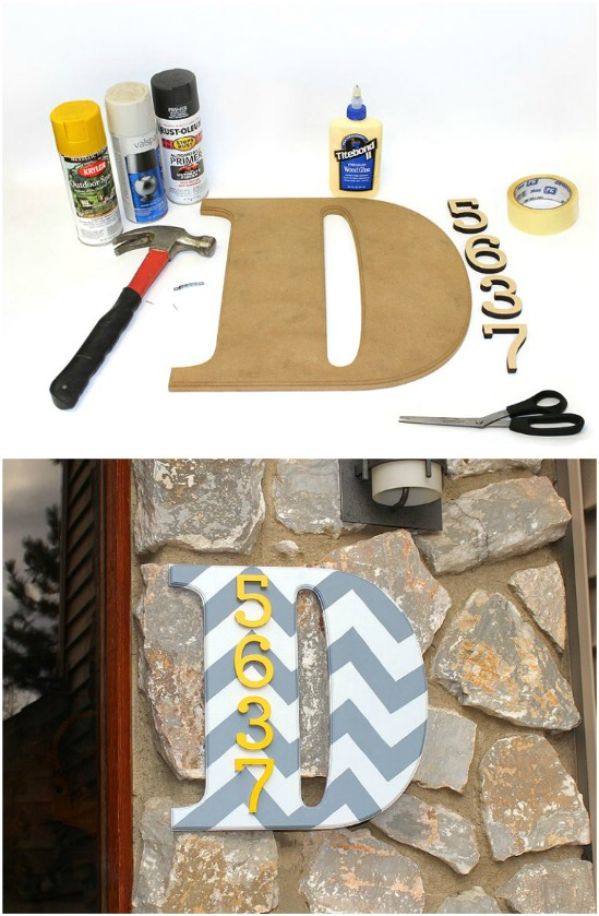 DIY Chevron Number Monogram