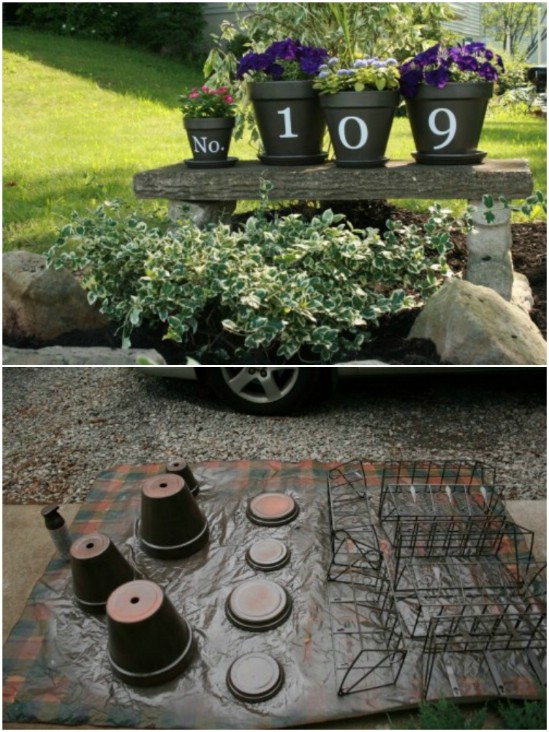 Beautiful Flower Pots Number Display