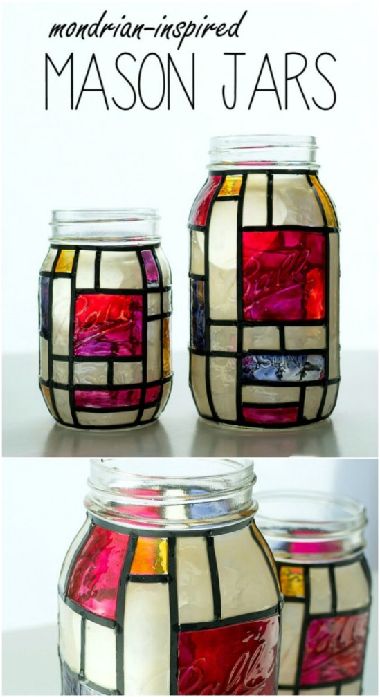 Stained Glass Mason Jar Art