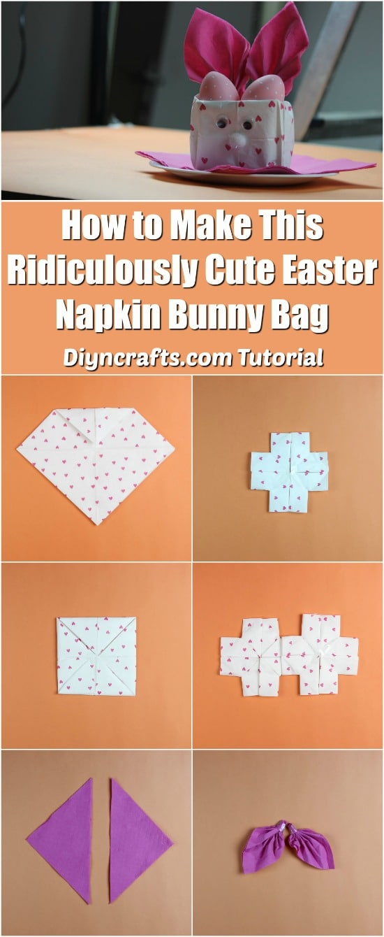 How to Make This Ridiculously Cute Easter Napkin Bunny Bag - Video tutorial by diyncrafts.com team!