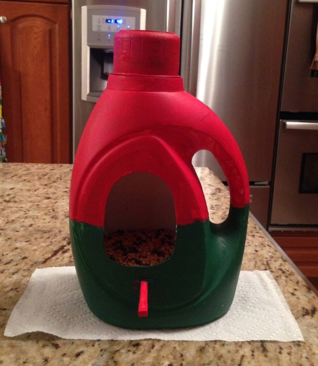 Repurposed Laundry Bottle Bird Feeder