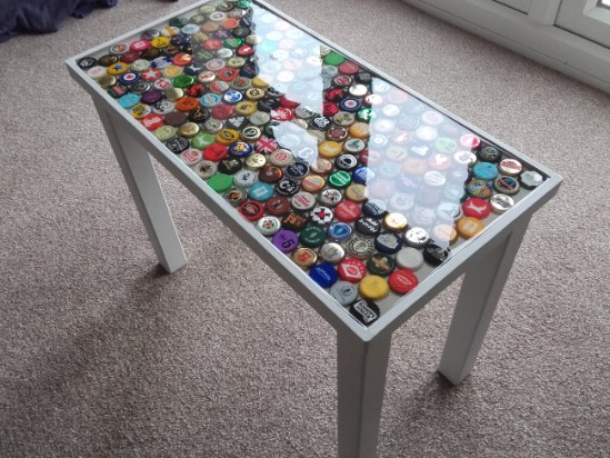 bottle cap furniture. how to create a colorful table using old bottle caps perfect man cave furniture cap 5