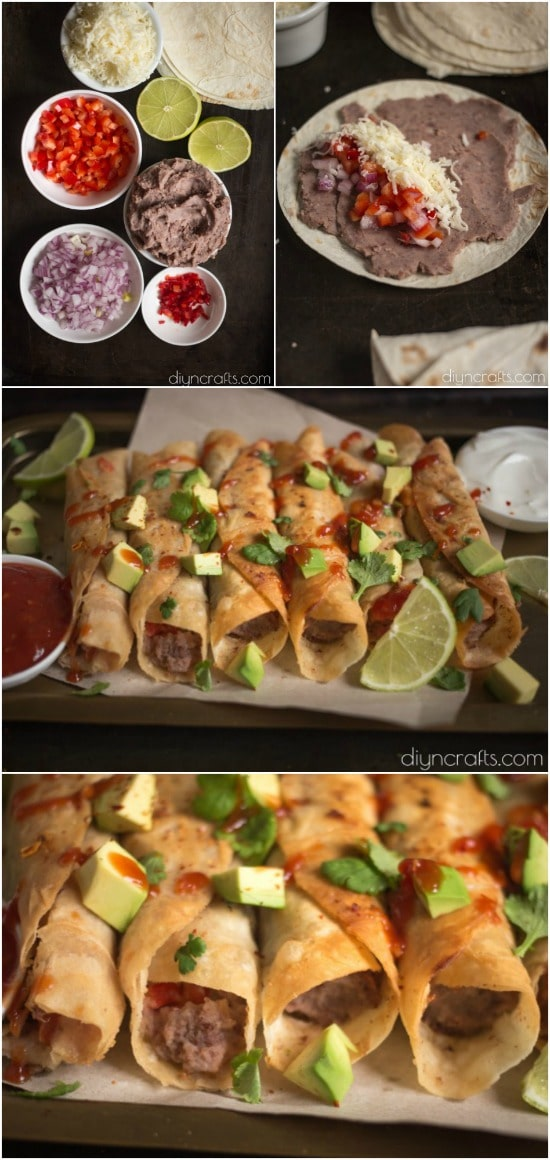 Black Bean Flautas – This Simple Appetizer Is Quick, Easy, And Delicious - Recipe and photos by diyncrafts.com team! <3