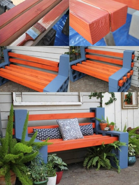 DIY Concrete And Wood Bench