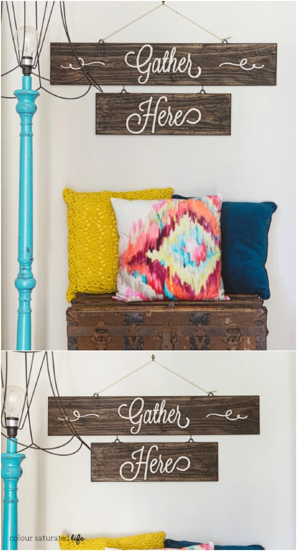 DIY Gather ere Rusitc SignHeeHere Rustic Sign