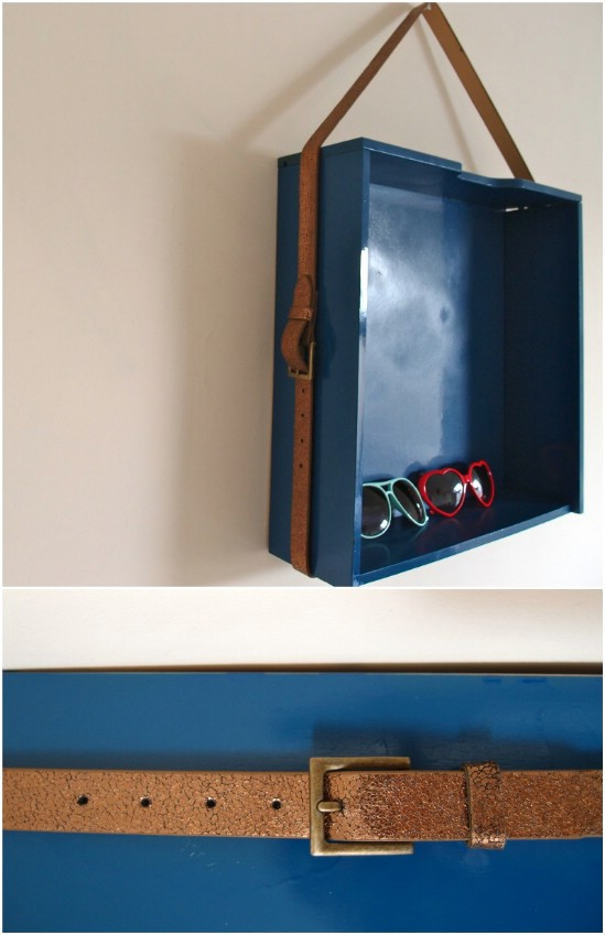 DIY Leather Display Shelf Hanger