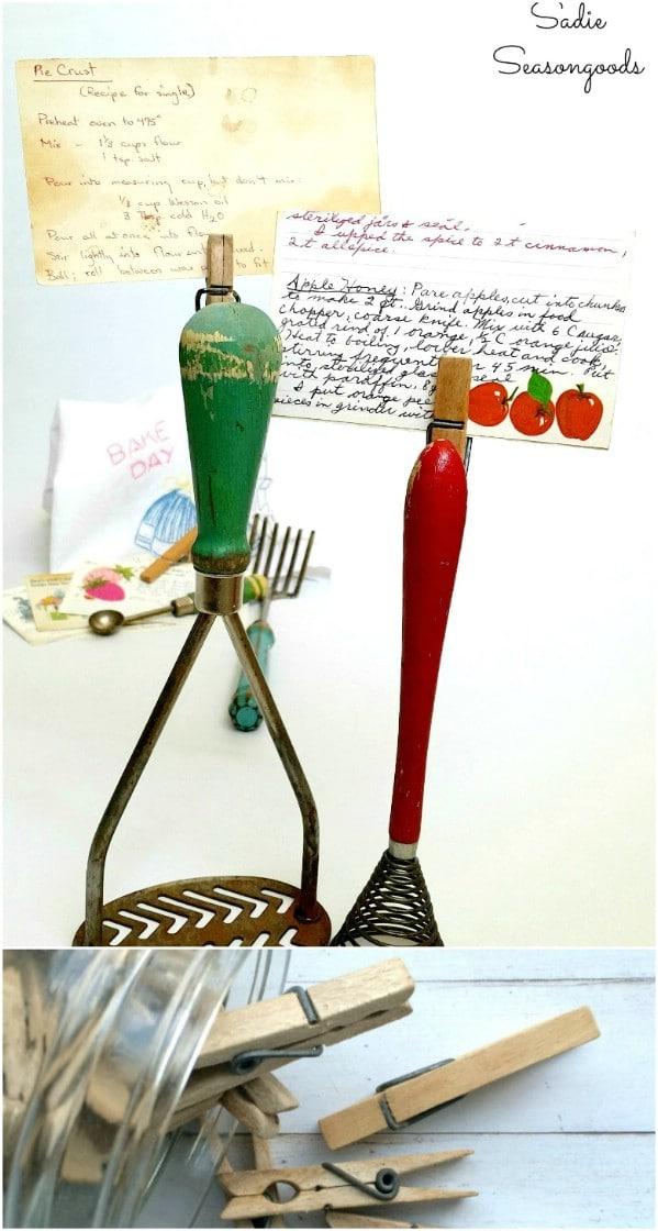 Vintage Cooking Utensil Recipe Card Holders