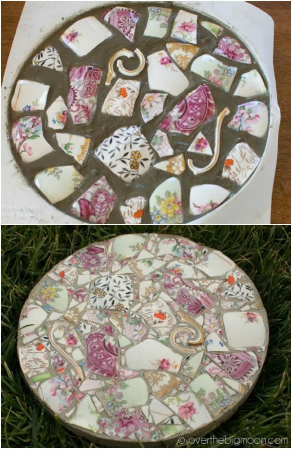 DIY Garden Mosaic Stepping Stones