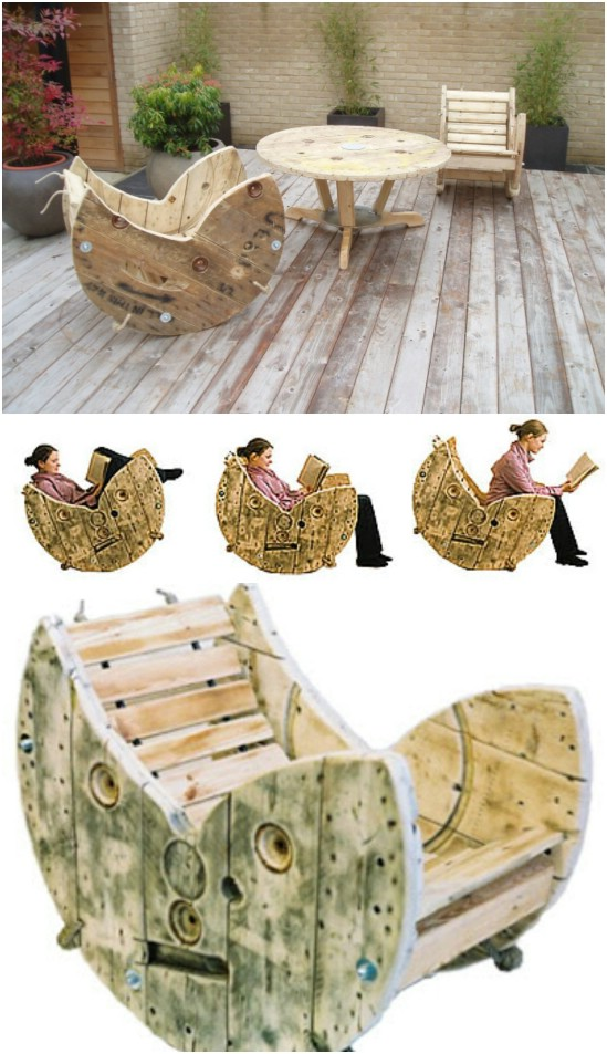 Outdoor Cable Spool Rocking Chair