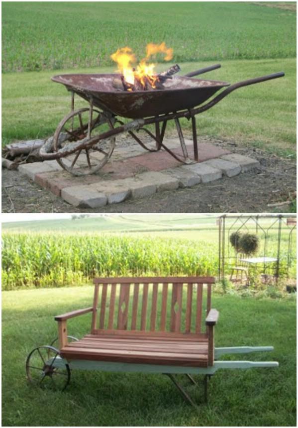 Rustic Wheelbarrow Fire Pit