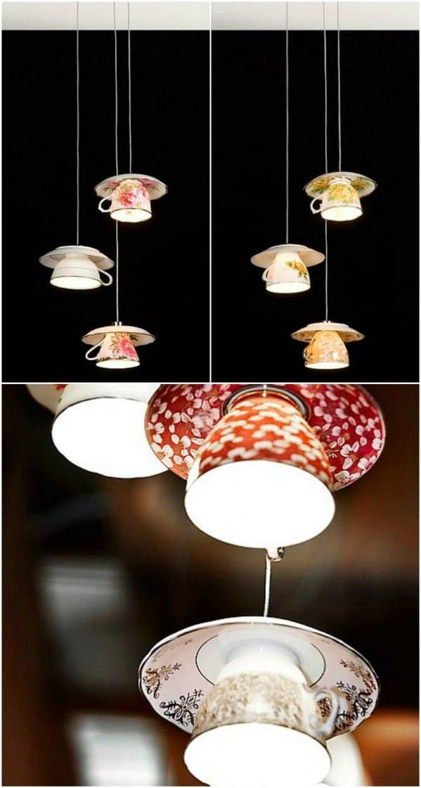 DIY Cup And Saucer Lights