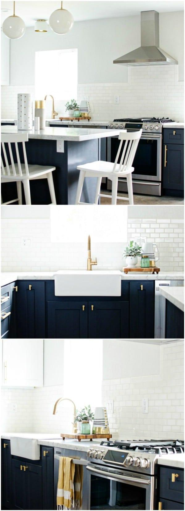 Navy And Brass Kitchen