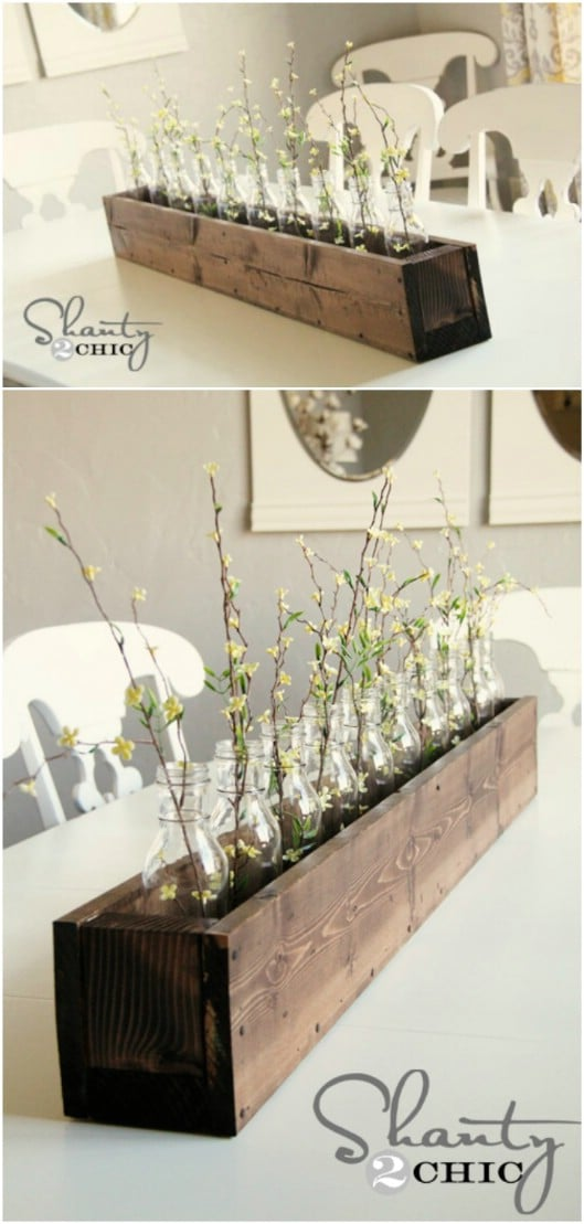DIY Wooden Planter Box Centerpiece