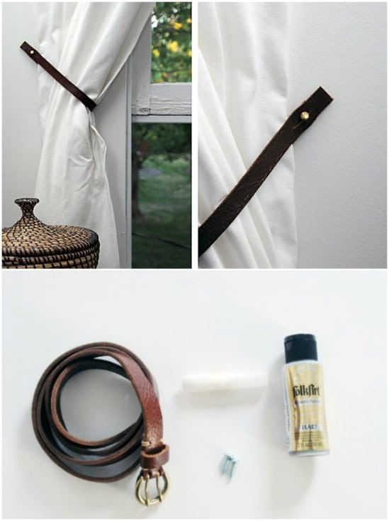 Repurposed Leather Belt Curtain Ties
