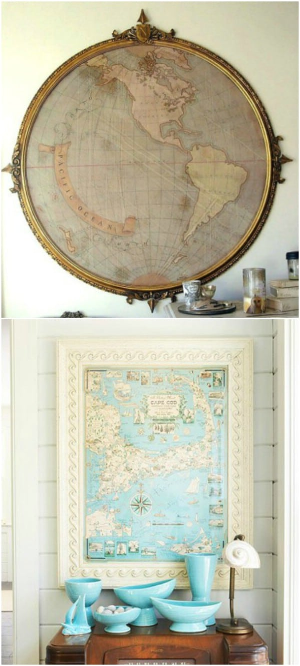 Repurposed Mirror Into Old World Map