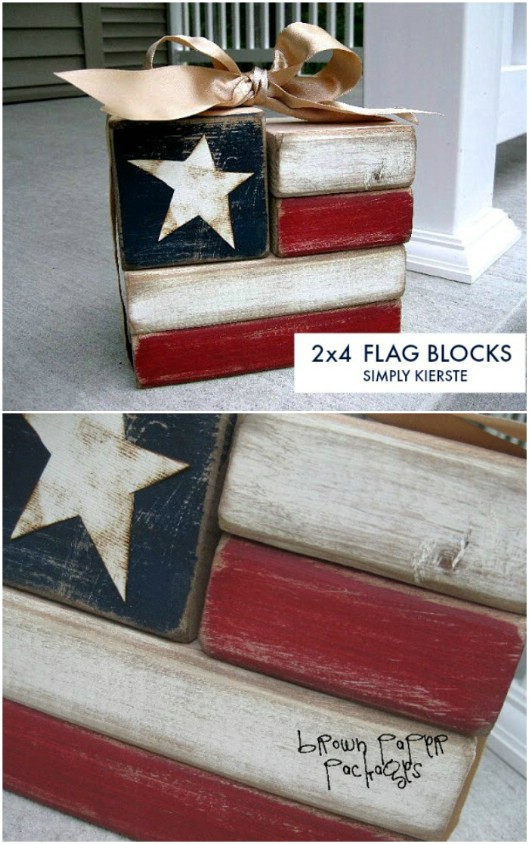 Fourth Of July Wooden Flag Blocks